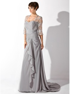 A-Line/Princess Sweetheart Court Train Chiffon Tulle Mother of the Bride Dress With Lace Beading