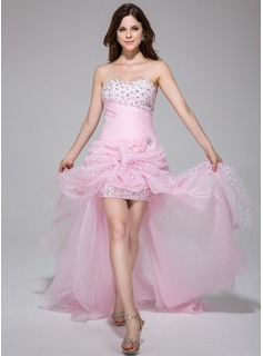 A-Line/Princess Sweetheart Asymmetrical Organza Charmeuse Prom Dress With Ruffle Beading Flower(s)