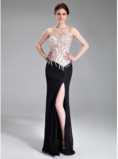 Sheath Sweetheart Floor-Length Chiffon Charmeuse Evening Dress With Beading (017019560)