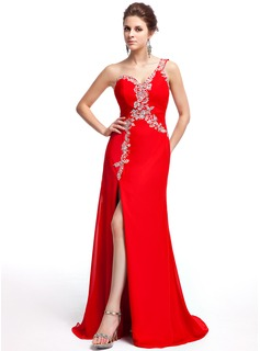 A-Line/Princess One-Shoulder Sweep Train Chiffon Evening Dress With Beading Sequins
