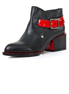 Real Leather Chunky Heel Pumps Closed Toe Ankle Boots Martin Boots With Buckle shoes