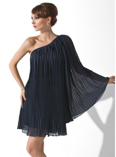 A-linje One-Shoulder Kort Chiffon Cocktailkjoler med Flæsekanter