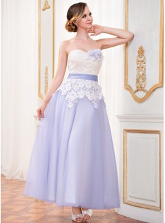 A-Line/Princess Sweetheart Ankle-Length Satin Tulle Lace Wedding Dress With Sash Flower(s)
