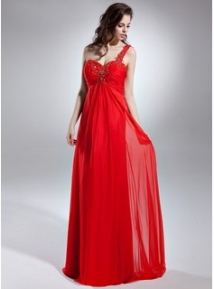 Empire One-Shoulder Floor-Length Chiffon Evening Dress With Lace Beading