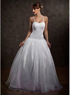 Ball-Gown Sweetheart Floor-Length Organza Satin Wedding Dress With Beadwork (002012169)