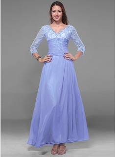A-Line/Princess V-neck Ankle-Length Chiffon Holiday Dress With Lace Beading (020013056)