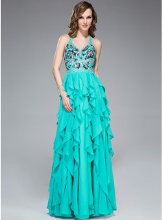 A-Line/Princess V-neck Floor-Length Chiffon Prom Dress With Appliques Sequins Cascading Ruffles