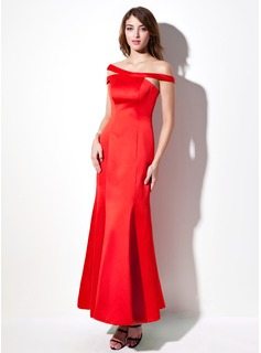 Mermaid Off-the-Shoulder Ankle-Length Satin Evening Dress