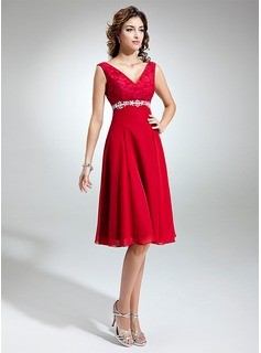 Empire V-neck Knee-Length Chiffon Charmeuse Lace Mother of the Bride Dress With Sash Beading Appliques