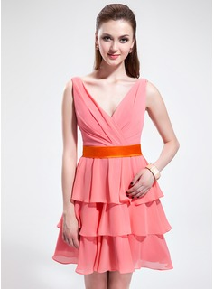 A-Line/Princess V-neck Short/Mini Chiffon Charmeuse Bridesmaid Dress With Sash Bow(s) Cascading Ruffles