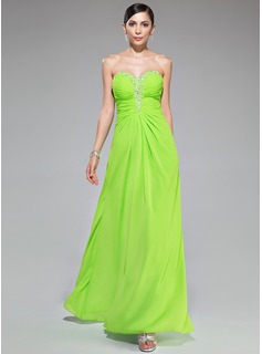 A-Line/Princess Sweetheart Floor-Length Chiffon Prom Dress With Ruffle Beading Sequins