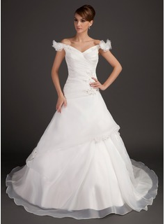 Ball-Gown Off-the-Shoulder Chapel Train Organza Satin Wedding Dress With Ruffle Beadwork Flower(s) Sequins