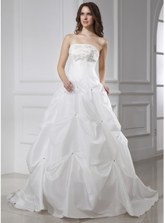 Ball-Gown Strapless Chapel Train Taffeta Wedding Dress With Embroidery Beadwork