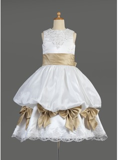 Empire Scoop Neck Tea-Length Satin Flower Girl Dress With Ruffle Lace Sash Beading Bow(s)
