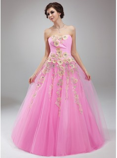 Ball-Gown Sweetheart Floor-Length Chiffon Tulle Quinceanera Dress With Ruffle Beading Appliques (021018810)