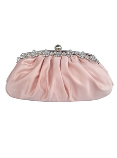 Fashional Silk With Ruffles & Rhinestone Clutches