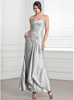 Sheath Sweetheart Ankle-Length Taffeta Evening Dress With Ruffle Beading