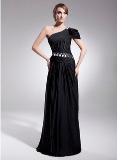 A-Line/Princess One-Shoulder Sweep Train Charmeuse Evening Dress With Ruffle Beading Sequins (017014556)