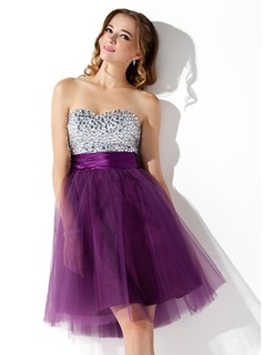 Empire Sweetheart Knee-Length Tulle Charmeuse Cocktail Dress With Beading