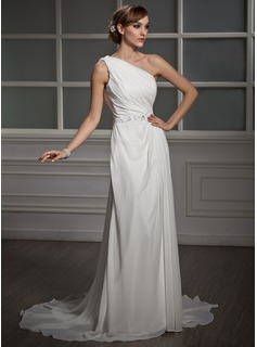 A-Line/Princess One-Shoulder Court Train Chiffon Wedding Dress With Ruffle Lace Beading Sequins
