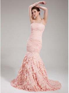 Mermaid Strapless Court Train Chiffon Evening Dress With Ruffle Beading (017019418)