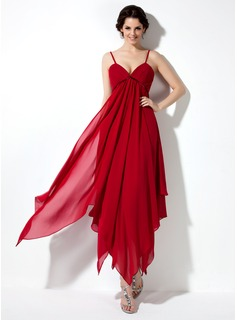 Empire V-neck Ankle-Length Chiffon Charmeuse Homecoming Dress With Ruffle (022021021)