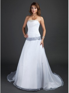 A-Line/Princess Strapless Court Train Taffeta Organza Wedding Dress With Ruffle Sash Beadwork