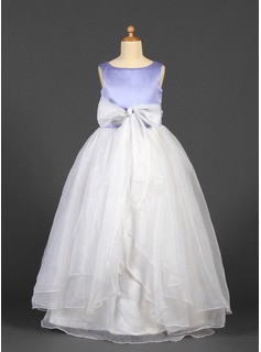 A-Line/Princess Scoop Neck Floor-Length Organza Satin Flower Girl Dress With Sash Bow(s)