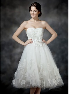 A-Line/Princess Sweetheart Tea-Length Satin Tulle Wedding Dress With Ruffle Lace Beading Flower(s) Bow(s)