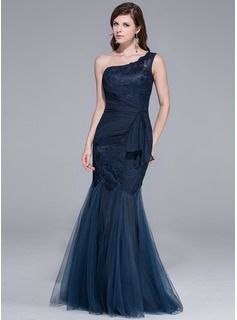 Mermaid One-Shoulder Floor-Length Tulle Evening Dress With Lace