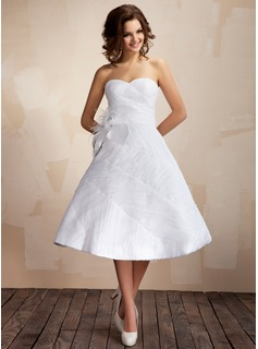 Ball-Gown Sweetheart Knee-Length Taffeta Organza Wedding Dress With Ruffle Feather Flower(s)