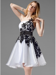 A-Line/Princess One-Shoulder Short/Mini Organza Satin Homecoming Dress With Lace Sash Beading