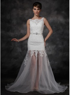 A-Line/Princess Sweep Train Organza Satin Wedding Dress With Lace Beadwork Sequins (002011595)