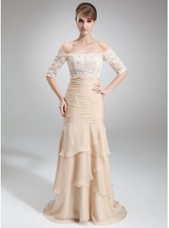 Trumpet/Mermaid Strapless Court Train Chiffon Mother of the Bride Dress With Ruffle