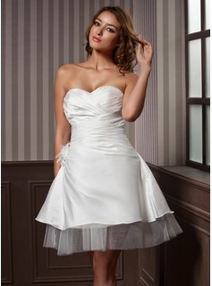A-Line/Princess Sweetheart Knee-Length Satin Tulle Wedding Dress With Ruffle Flower(s)