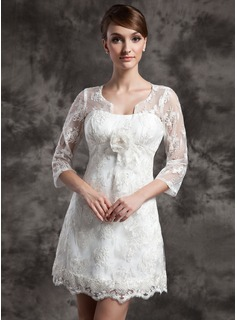 A-Line/Princess Scoop Neck Short/Mini Charmeuse Lace Wedding Dress With Flower(s) (002014998)