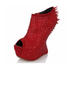Suede Others Sandals Peep Toe With Rhinestone Rivet Zipper shoes (087040905)