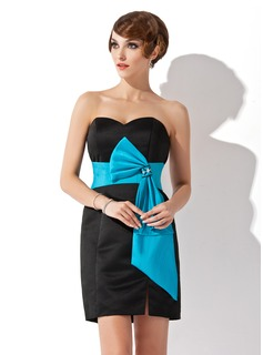 Sheath Sweetheart Short/Mini Satin Cocktail Dress With Sash Beading (016020736)