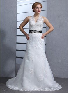 A-Line/Princess Halter Chapel Train Satin Tulle Wedding Dress With Lace Sash Beadwork