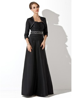 Empire Sweetheart Floor-Length Taffeta Mother of the Bride Dress With Ruffle Beading Sequins
