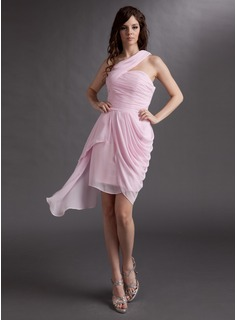 Sheath One-Shoulder Asymmetrical Chiffon Cocktail Dress With Ruffle (016016279)