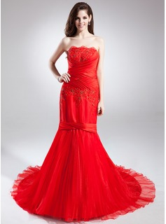 Trumpet/Mermaid Strapless Chapel Train Organza Satin Prom Dress With Ruffle Lace Beading Flower(s)