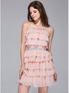 Sheath Strapless Short/Mini Chiffon Homecoming Dress With Ruffle Beading