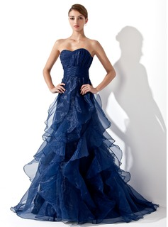 A-Line/Princess Sweetheart Sweep Train Organza Prom Dress With Ruffle