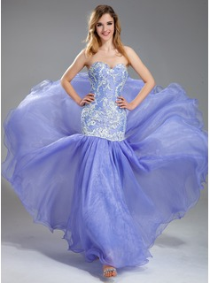 Mermaid Sweetheart Floor-Length Organza Charmeuse Prom Dress With Lace Beading Sequins