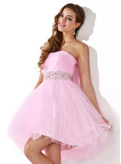 A-formet/Prinsesse Sweetheart Mini Tulle Ballkjole med Beading (022020909)