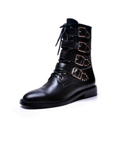 Real Leather Low Heel Ankle Boots Martin Boots With Buckle shoes