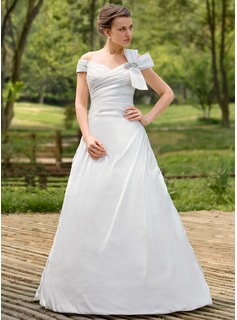 Ball-Gown Off-the-Shoulder Sweep Train Taffeta Wedding Dress With Ruffle Beading Bow(s)