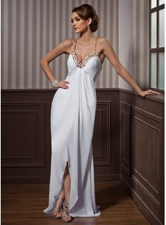 Sheath/Column Sweetheart Asymmetrical Chiffon Tulle Evening Dress With Beading