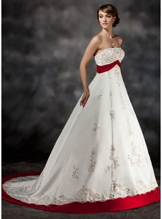 Ball-Gown Strapless Court Train Satin Wedding Dress With Lace Sash Beadwork